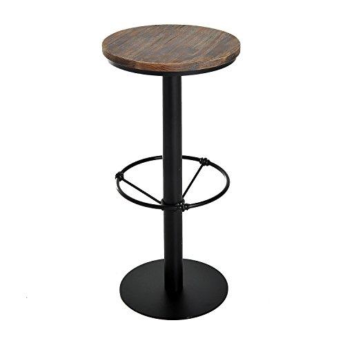 HomCom Round Industrial Metal Wood Top Bar Height Pub (Wood And Metal Bar Table)