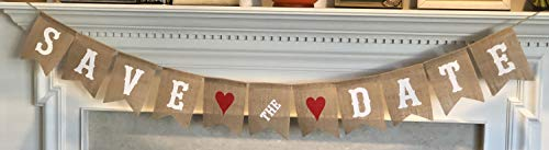 Save The Date Burlap Banner - Engagement Picture Prop Wedding Announcement - Ready to Hang Bridal Shower Decoration – White Letters & Red Hearts Garland by Jolly Jon ® ()