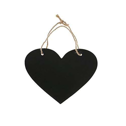 2 Pcs Hanging Wooden Blackboard Erasable Message Chalkboard String Signs, Weddings, Parties, Home, Garden Decorations (Heart-Shaped)