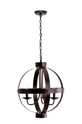 Catalina Lighting 19866-000 Industrial Modern Geometric 3 Metal Orb Open Cage Chandelier Ceiling Light, 16
