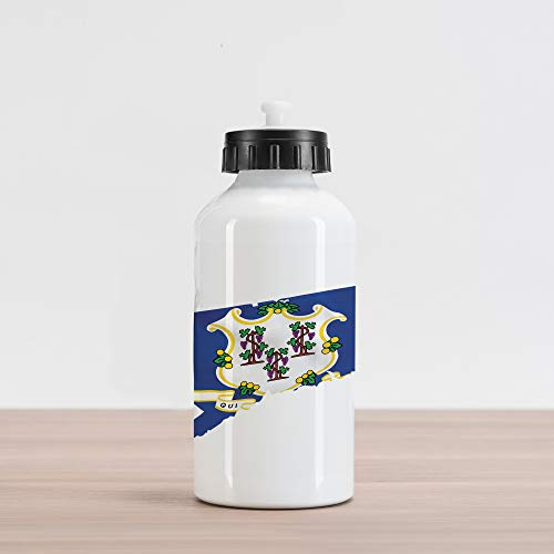 Lunarable Connecticut Aluminum Water Bottle, Flag on Map of Constitution State Grape Branches White Seal, Aluminum Insulated Spill-Proof Travel Sports Water Bottle, Cobalt Blue and Multicolor