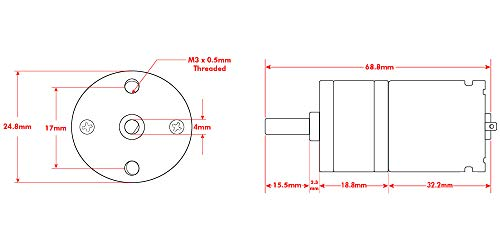 OSEPP 1067 RPM DC Metal Gear Motor, Compatible to ServoCity # 638358  (LS-00085)