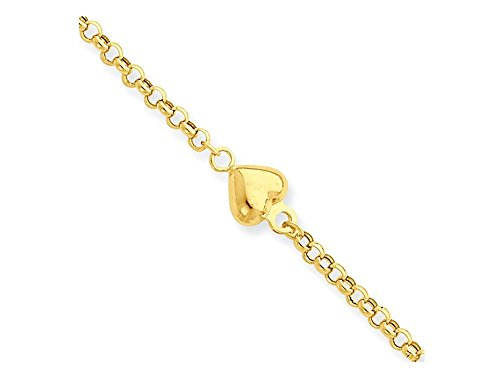 10 Inch 14 kt Yellow Gold Puff Heart 9in with 1in Ext Anklet by Finejewelers