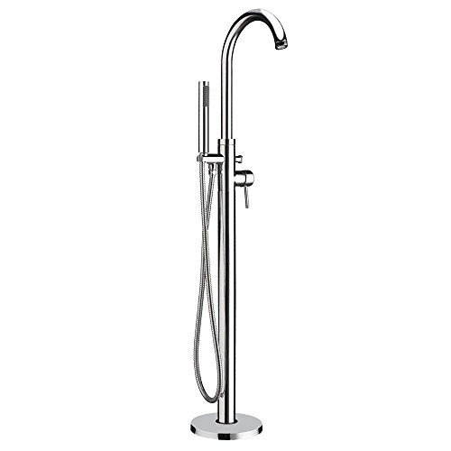 Whitehaus WHT7368S-C Freestanding single lever tub filler with integrated diverter valve and hand held shower - Polished -