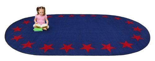Kid Carpet FE742-35A Star Border Oval Nylon Area Rug 6' x 8'6 Blue [並行輸入品] B07HLHLCQR