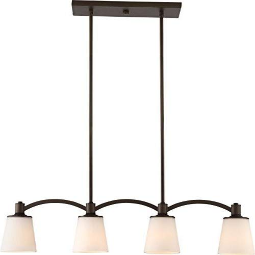 Nuvo Lighting 60/5975 Laguna 4 Light 60W A19 max. Medium Base Island Penant Trestle with White Glass, Aged Bronze ()