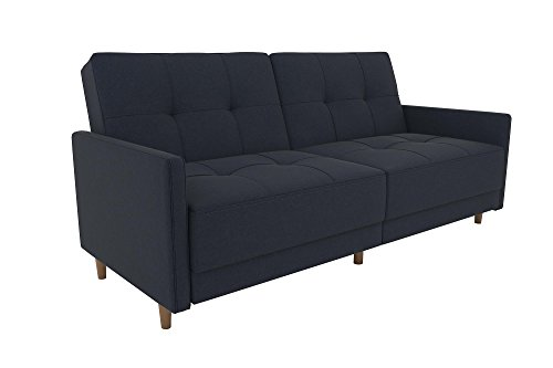 DHP Andora Coil Futon Sofa Bed Couch with Mid Century Modern Design - Navy Blue Linen - Mid-Century Modern design with tufted seat and back cushions and wooden legs. Seat is made with independently encased coils providing additional comfort. Includes center legs for additional support. - sofas-couches, living-room-furniture, living-room - 31aTJGA6zdL -