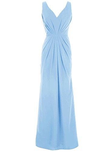 Bbonlinedress Mujer Vestido De Fiesta Nochevieja Largo Gasa Escote En Pico Espalda Al Aire Azul