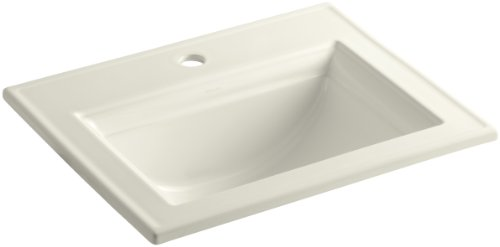 Kohler 2337-1-96 Ceramic Drop-In Rectangular Bathroom Sink, 29.88 x 12 x 23.5 inches, Biscuit ()