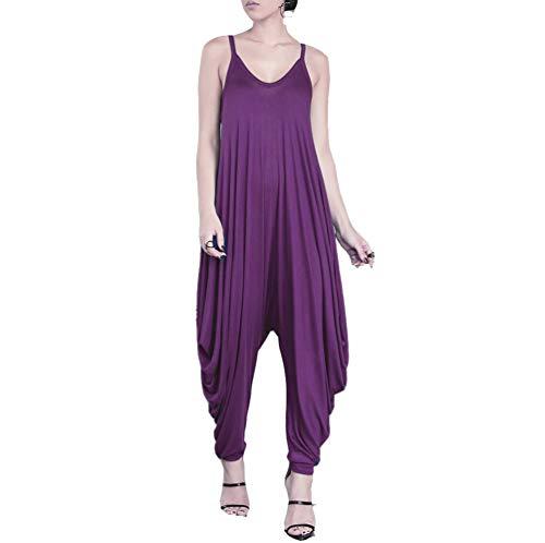 (Dreamskull Women's Punk Spaghetti Strap Jumpsuit V Neckline Comfy Loose Harem One Piece Romper (L, Purple))