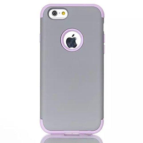 iPhone 6 Case , iPhone 6S Case, Lantier antichoc Case hybride triple couche de protection en plastique dur avec Housse silicone souple pour Apple iPhone 6 / 6S 4,7 pouces (Gray + violet)