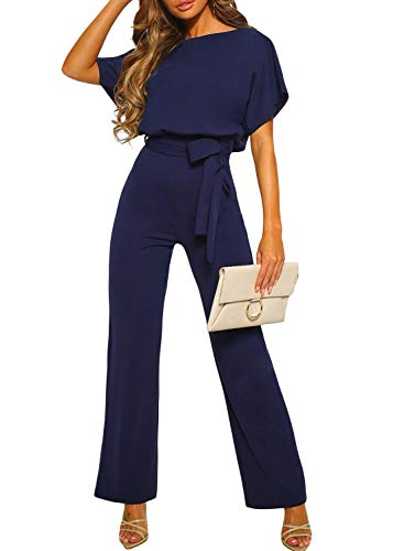 CANIKAT Women's Fashion Summer Casual Short Sleeve Tie Front Belted Jumpsuit Long Pants Cute Lightweight Romper Playsuit Blue XL ()