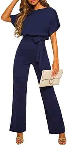 b0cfbbfb7be7 CANIKAT Womens Casual Short Sleeve Belted Jumpsuit Short Pants Back Keyhole  Overall Romper Playsuit