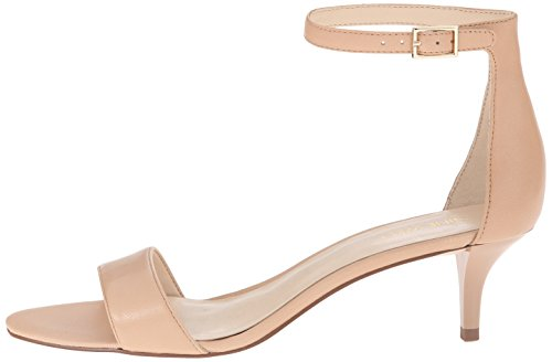 Nine West Women's Leisa Leather Heeled Dress Sandal, Natural Leather, 8 M US