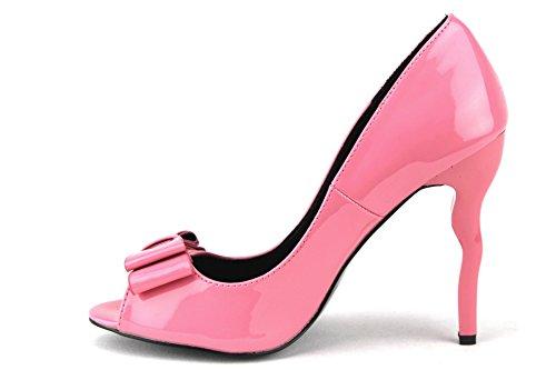 Jaime Aldo Kvinna Breaker Peep Toe Mirage Krökta Stilletto Klackar Pumpar Skor Patent Rosa