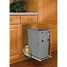 """Rev-a-shelf Pull-out Waste Container System - Full Extension Choose 20 27 or 35qt Capacity -White (9""""W-18""""D-17""""H single 20Q)"""