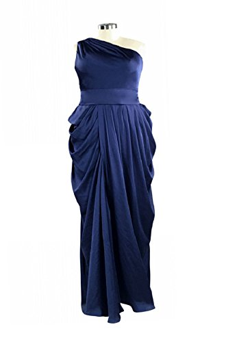 HZWL Women's Tiered Ruffles with Pocket and Belt One Shoulder Sleeveless Floor Length Silk Like Chiffon Prom Dress Eevning Gown (Navy Blue,Size 8 US) (Tiered Silk Chiffon Gown)