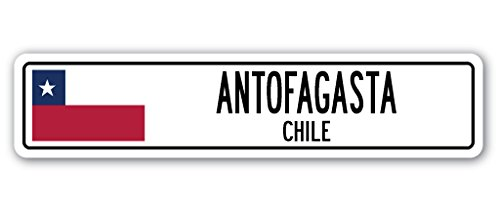 ANTOFAGASTA, Chile Street Sign Chilean Flag City Country Road Wall Gift