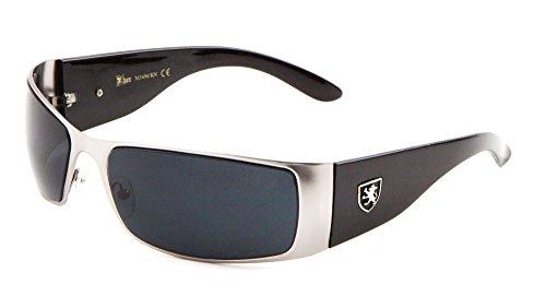 KHAN Metal Wrap Around Sunglasses Dark Lens 67mm Cycling Hiking Racing Mens (Silver/Black, 67)