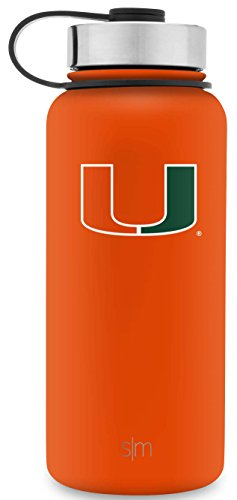 Simple Modern 32oz Summit Water Bottle - Miami Hurricanes Vacuum Insulated 18/8 Stainless Steel Travel Mug - Miami