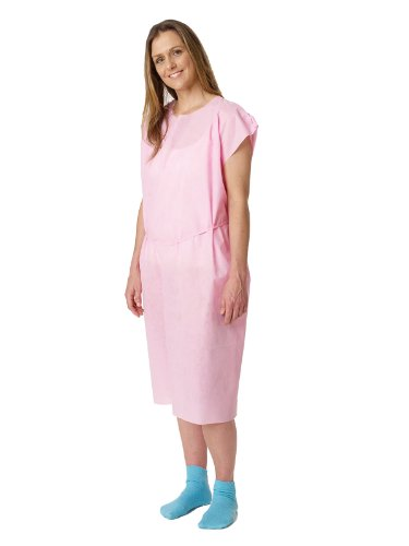 Medline NON27048 Disposable Multi Layer Patient Gowns, Large, Pink (Case of 50) by Medline