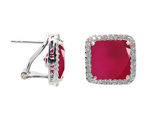 Fronay Co .925 Sterling Silver Simulated Red Ruby (CZ) Halo Square Stud Earrings with Omega Clasp from Fronay Silver Collection