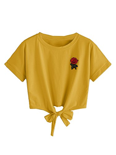 China Yellow Roses - XiaoShop Women's Rose Embroidery Cute T-Shirts Crop Tops with Bowknot Yellow Small