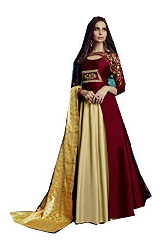anWomenDesignerPartywearEthnicDiwaliTraditonalMarin-Cream Readymade Dress. ()