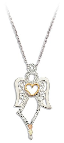 Petite Angel with Heart Pendant Necklace, Sterling Silver, 12k Green and Rose Gold Black Hills Gold Motif, - Angel Black Pendant Hills Gold