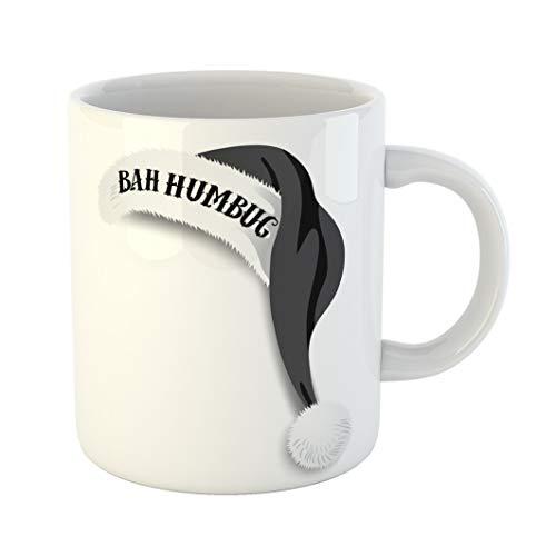 Emvency 11 Ounces Coffee Mug Red Cap Bah Humbug Black Santa Claus Hat Ebenezer Scrooge Catch Phrase Cartoon Celebration White Ceramic Glossy Tea Cup With Large C-handle