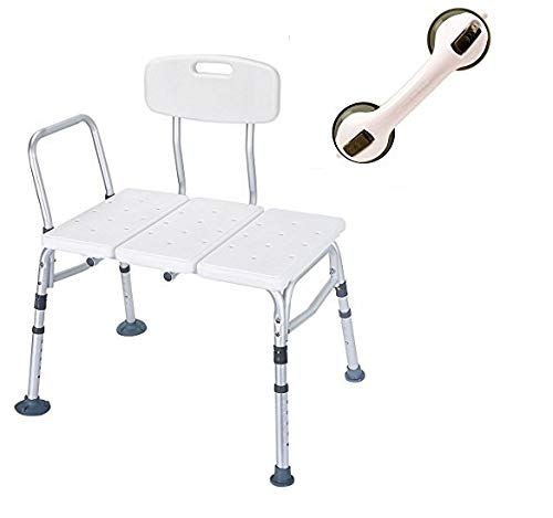 HEALTHLINE Tub Transfer Bench Balance Assist Suction Grab Bar Lightweight Medical Bath Shower Chair with Backrest Non-Slip Seat, Bathtub Transfer Bench for Elderly Disabled, Adjustable Height, White