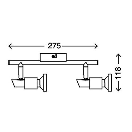 Briloner Leuchten 2991 022B Deckenleuchte Deckenlampe Mit 2 Dreh Und Schwenkbaren Spots Inklusive Leuchtmittel Chromringen Fassung GU10 2x3 Watt