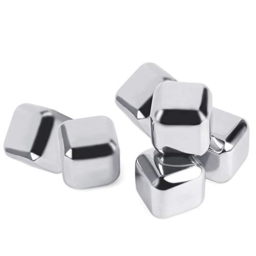 6 pcs Silver Reusable Non-Toxic Environmentally Safe Stainless Steel Wine Ice Cooling Cubes All Chill No Melt
