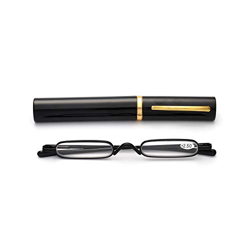 Easy Carry Mini Compact Slim Reading Glasses-Lightweight Portable Readers with w/Pen Clip Tube Case (Black, 3.00) (Mini Eye Glasses)