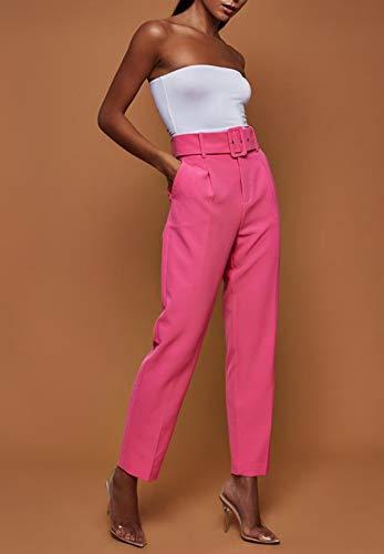 Pantalón Cintura Rosa Roja Pants Con Cinturón Traje Moda Alta Pantalones Woznloye Mujeres Puntos De Casual wxFqpO1nIE