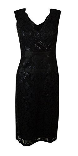 Adrianna Papell Women's Surplice V-Neck Sequined Lace Dress (8, Black) (Surplice Sequined)