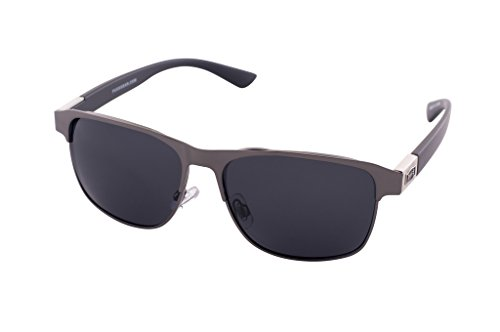 1601 Pugs Polarized and 100% UV Sunglasses, Classic Urban Retro Style (Silver/Flat Black Frame, Black - With Pug Sunglasses