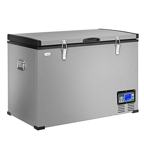 COSTWAY Chest Freezer, 100-Quart Compressor Travel Car Freezer, -0.4°F to 50°F, Portable and Compact Vehicle Electric Cooler Fridge, for Meat, Vegetable and Drinks, for Car, Home, Camping, Truck Party