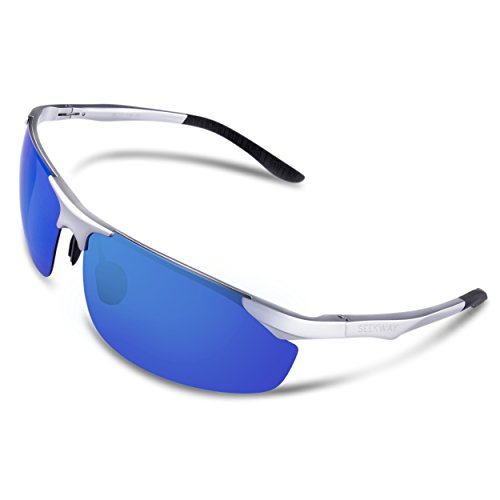 SEEKWAY Mens Sports Polarized Sunglasses for Cycling Running Fishing Driving Golf Unbreakable Metal Glasses SE711 (silver, blue iced - Aluminium Frame Sunglasses