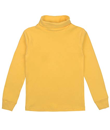 Spring&Gege Youth Girls Solid Turtleneck Cotton T-Shirt Kids Base Layer Tops Size 11-12 Years Yellow
