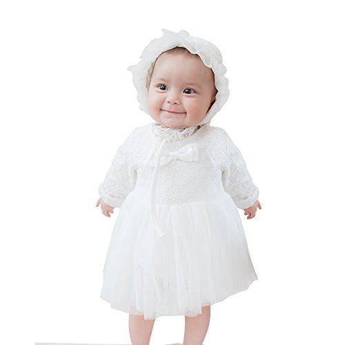 mikistory Baby-Girls Newborn Satin Christening Baptism Floral Embroidered Dress Gown Outfit with Hat 3-6Months Off ()