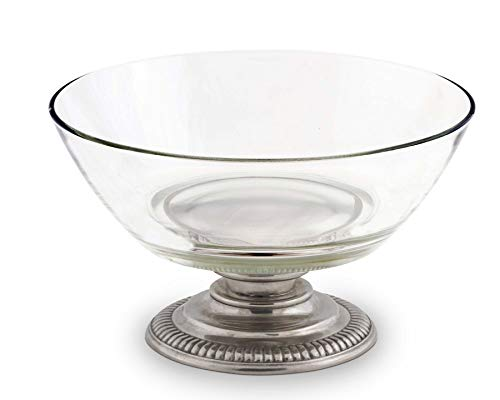i Glass Serving Bowl Glass with Solid Pewter Base 10