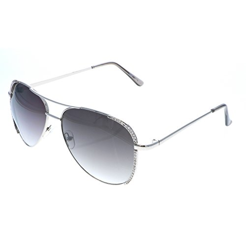 VOX Trendy Classic Aviator Hot Fashion Rhinestones Sunglasses w/FREE Microfiber Pouch-Silver Frame with Smoke Lens