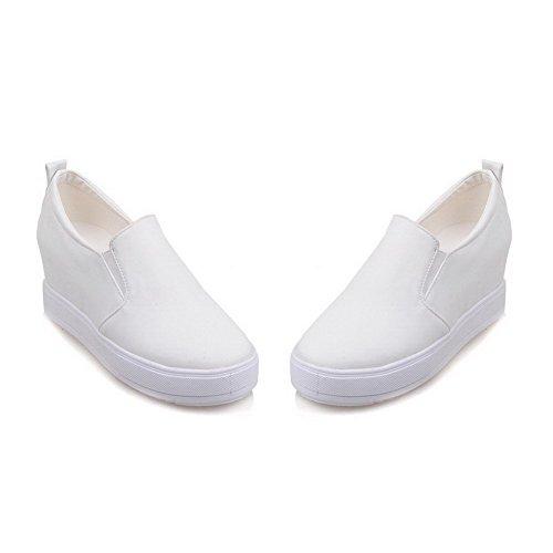 AllhqFashion Damen PU Rein Ziehen auf Rund Zehe Mittler Absatz Pumps Schuhe Weiß