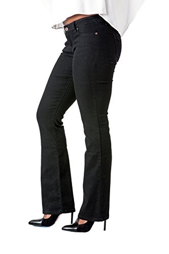 Old Navy Classic Rise (Poetic Justice Curvy Women's Black Stretch Denim Slim Skinny Bootcut Tall Jeans Size 32T Size)