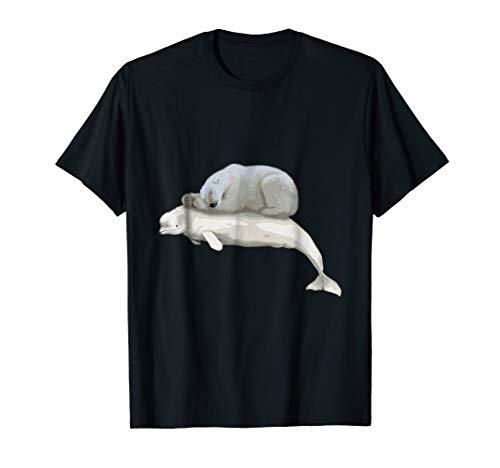 Mens Polar Bear Resting on Beluga Whale Climate Change T-Shirt Medium ()