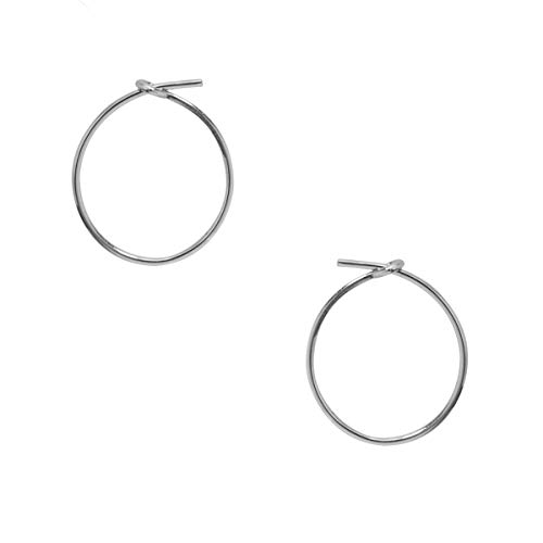 Humble Chic Small Hoop Earrings for Women - Hypoallergenic Round Lightweight Wire Threader Loop Tiny Huggies, 925 White - 0.5 inch, Sterling Silver-Electroplated, Tiny