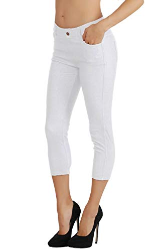 Fit Division Women's Jean Look Cotton Blend Jeggings Tights Slimming Full Lenght Capri Bermuda Shorts Leggings Pants S-3XL (1X US Size 12-14, FDJN817-WHT) ()