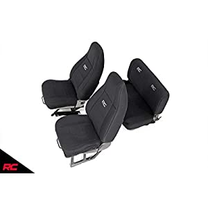 Rough Country Neoprene Seat Covers Front/Rear Black Fits 1991-1995 [ Jeep ] Wrangler YJ Custom Fit Water Resistant 91009