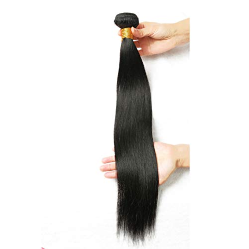 One Piece Bundle - 9A Brazilian Straight Virgin Hair Weave Bundles 100% Human Hair Bundles One Bundle Natural Color Remy Hair Extensions(10 INCH)